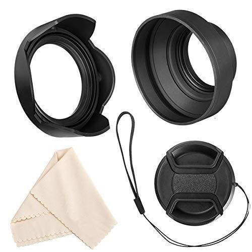 Veatree 77mm Gegenlichtblenden Set, Zusammenklappbare Gummi Gegenlichtblenden + Reversibel Streulichtblende + Objektivdeckel