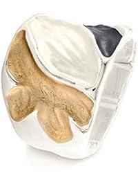 Sincera Damen Ring Tricolor Blume Silberfarben Rhodiniert Flexible Free size 24-17612