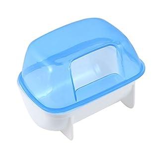 TOOGOO(R) Pet Hamster Bathroom Bath Sand Room Sauna Toilet Blue White 10x7x7cm