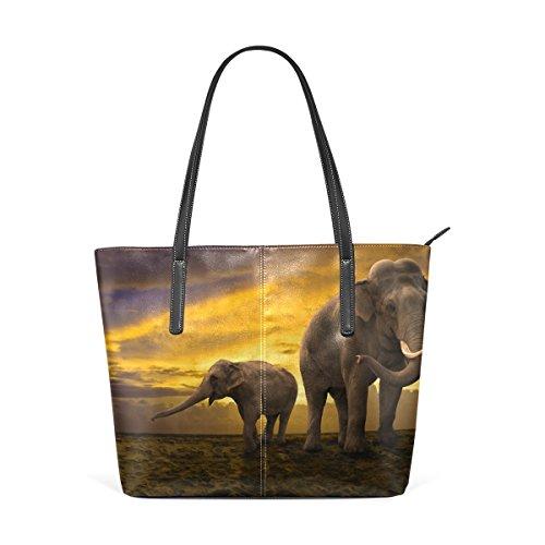 COOSUN Familia de los Elefantes en la Puesta del Sol de la...