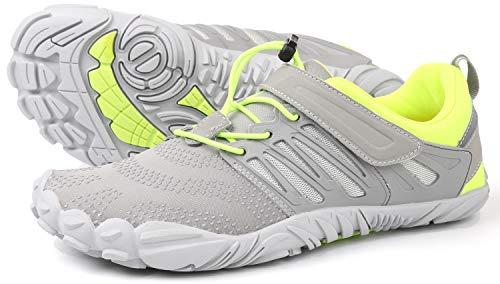 WHITIN Herren Damen Traillaufschuhe Minimalistische Barfußschuhe 5 Five Finger Zehenschuhe Fivefinger Trail Laufschuhe Fitnessschuhe Fitness Barfussschuhe für Männer Atmungsaktiv Grün Grau Größe 45