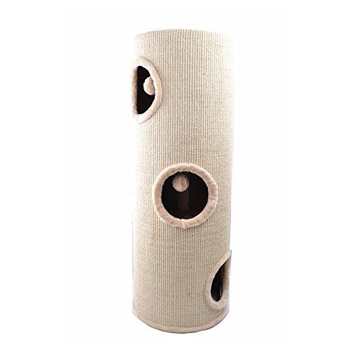 Produktabbildung von [mia.home®] Kratzbaum Kratztonne Kuschelhöhlen für Katzen Katzen Höhle Tonne Beige 100cm