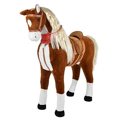 Pink Papaya Giant XXL Kinderpferd ELSA 125cm Plüschpferd, Fast lebensgroßes Spielzeug Pferd zum Drauf sitzen bis 100kg belastbar mit Sounds