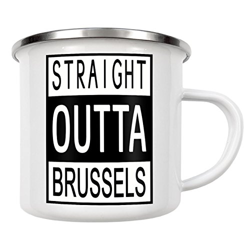 "artboxONE Emaille Tasse ""Straight Outta Brussels"" von David Springmeyer - Emaille Becher Reise"