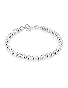 Edles Armband Mini Kugelkette Armreifen Perlen 925 Sterling Versilbert. Ø 60mm