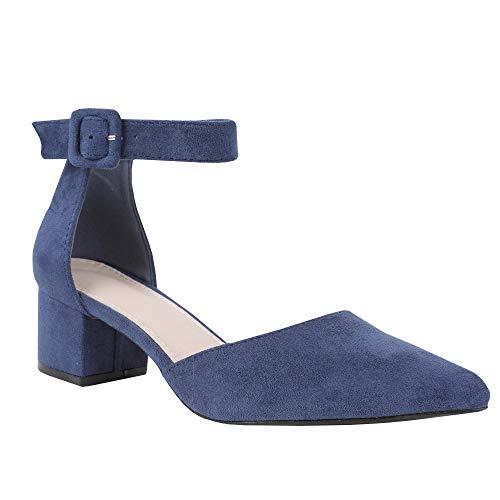 Damen Blockabsatz Mary Janes Schuhe Knöchelriemchen Wies Wildleder Pumps Mid Heel Geschlossener Zeh Sommerschuhe Heel Mary Jane Pump Schuhe