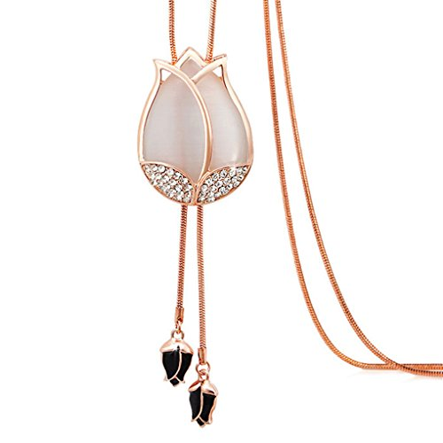 Bubudong Women's Tulip Flower Pendant Crystal Rhinestones Long Necklace Sweater Chain
