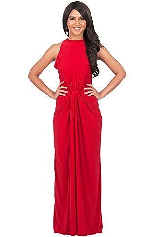 KOH KOH® Plus Size Damen Ärmelloses Maxikleid Elegante Geknöpfte Cocktail Wunderschön, Farbe Rot, Größe XXL / 2X Large (1920 Bride Kostüm)