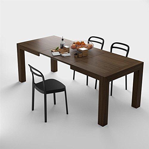 Mobilifiver, tavolo cucina allungabile fino a 220 cm, iacopo, nobilitato, color noce, chiuso 140 x 90 x 77 cm, 2 allunghe da 40 cm riponibili all'interno