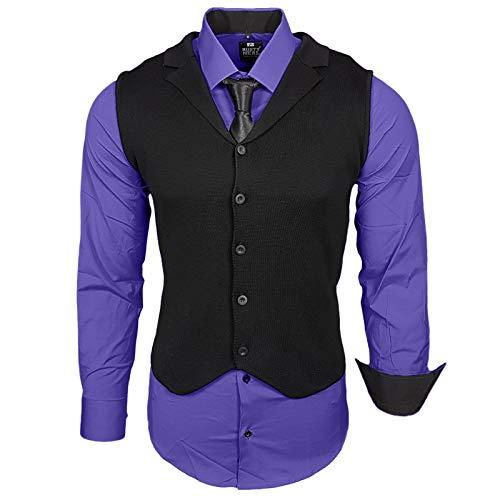 Rusty Neal Herren Hemd Weste Krawatte Set Hemden Business Hochzeit Freizeit Slim Fit, Größe:S, Farbe:Lila