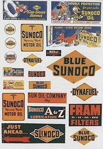 ho-scale-vintage-gas-station-signs-sunoco-1940-50s-pkg42-by-jl-innovative-design