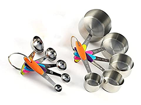 10 Pieces Measuring Cup and Spoon Set by TRUSTICLES - Colourful Solid Stainless Steel for Kitchen Cooking Baking with Silicone Handles for Dry and Liquid Ingredients