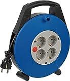 Brennenstuhl 1093230 Vario Line - Cable alargador de corriente (4 enchufes, 10m, cable H05VV-F 3G1,5), Negro /Azul /Gris claro