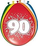90 Geburtstag Deko Luftballon Ballons mit Zahl 90 Farbmix Dekoration zum 90er Geburtstag Party oder andere Anlässe 8 Stück
