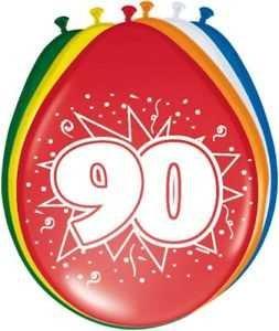 uftballon Ballons mit Zahl 90 Farbmix Dekoration zum 90er Geburtstag Party oder andere Anlässe 8 Stück (90er Geburtstag)
