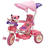 BABY TRICYCLE FOR KIDS WITH FRONT OR BACK BASKET AND CANOPY AND PARENT HANDLE OR MUSICAL TRICYCLE PINK COLOUR KIDS TRICYCLE RECOMMENDED TRICYCLE FOR BABY GIRL OR TRICYCLE FOR BABY BOY OR TRICYCLE FOR TODDLER GIRL OR TRICYCLE FOR TODDLER BOY RECOMMENDED FO