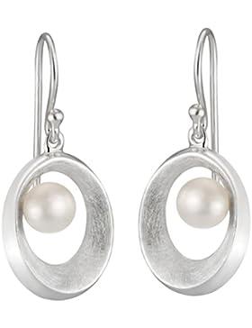 Vinani Damen-Ohrhänger offenes Oval gebürstet mit Süßwasserzuchtperle Sterling Silber 925 Ohrringe Perle OAGP