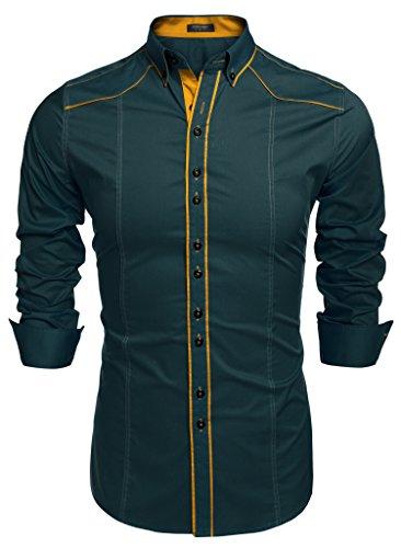 Burlady Herren Hemd Slim Fit Farbblock Einfarbighemd Langarmshirt Freizeit Business Party Shirt für Männer