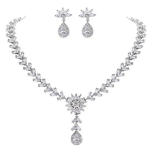 Ever Faith Women's Marquise CZ Bridal Flower Petal Teardrop Necklace Earrings Set Clear Silver-Tone
