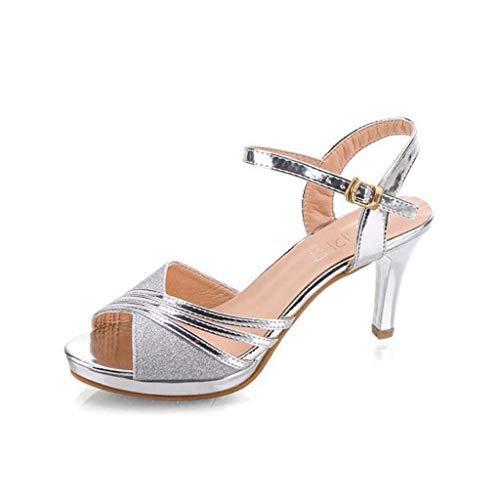 MSSugar Damen Sommer Sandalen Chunky Gold/Silber Open Toe Stiletto Schnalle Temperament vielseitige High Heels,Silver,39 -
