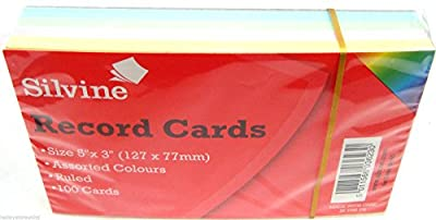 """Silvine Coloured Record Cards 5"""" x 3"""" Ruled Flash Cards Revision Flash Cards New"""