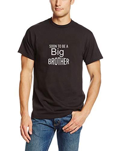 Kinder Custom Made T-shirt (T-Shirt Herren Sommer Oberteile Bald EIN großer Bruder Beste Neue Geschwister Geschenkidee Kinder mit Aufklebern Mann T-Shirt für Männer(Can Custom-Made Pattern) (Color : Schwarz, Size : XL))
