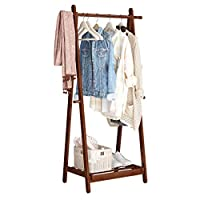 LANGRIA Foldable Bamboo Clothes Rack Stand With Vertical Hanging Rod Two Side Hooks and Shoe Shelf for Storing and Organizing Clothes, Garments, Shoes, and Laundry With Sturdy A-Frame Design (White)