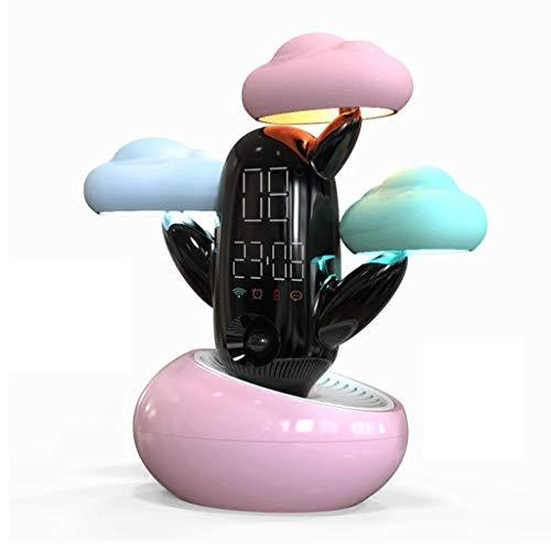 LMM HOME Mit leuchtender Lampe Nachttischlampe Schlafzimmer multifunktions Wolke Wetter Smart Cartoon Kreative Wecker Stille Student Wecker (Color : Pink)