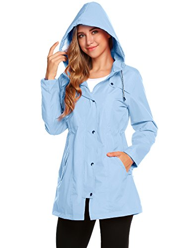 Regenjacke Damen Regenmantel Dünne Kapuzenjacke Lightweight Wasserdicht Outdoor Rain Trekking Funktionsjacke Sport Jacke Outwear Winter (Damen Mantel Winter Wasserdicht)