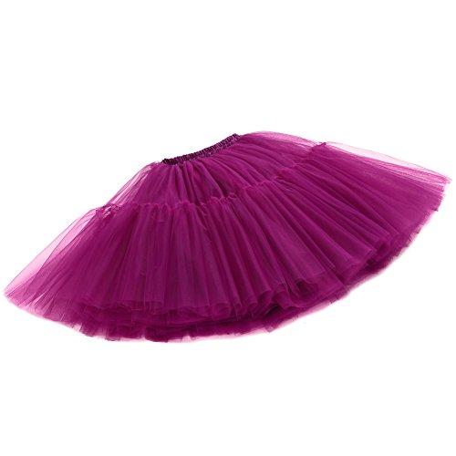 Izanoy Damen Vintage Tüllrock 5 Lage Prinzessin Falten Rock Tutu Petticoat Ballettrock Unterrock Pettiskirt Lila One Size/Einheitsgröße -