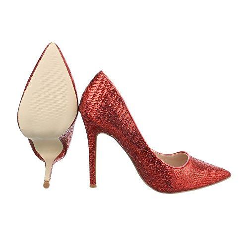 Ital-Design High Heel Pumps Damenschuhe High Heel Pumps Pfennig-/Stilettoabsatz High Heels Pumps Rot 5015-59
