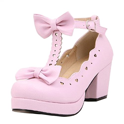 Oasap Women's Sweet Bow Cut Out Buckle Chunky High Heels pink