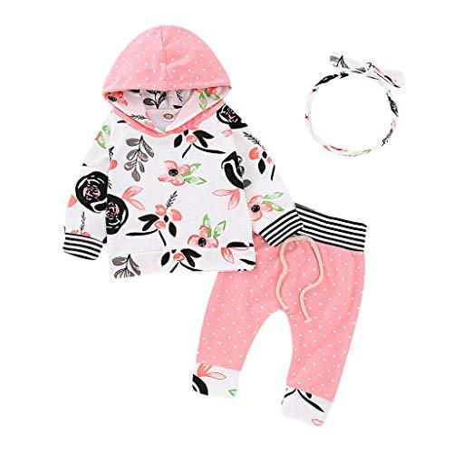 Beikoard Infant Baby Mädchen Strampler Mit Kapuze Tops Floral Hosen Hose Haarband Outfits Babykleidung Fliegende Ärmel Top + Floral Pants + Hair Strap 3 Stück Kleidung ()