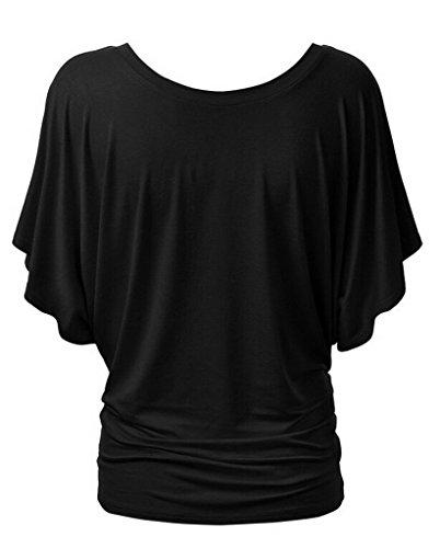 Smile YKK T-shirt Manches Courte Femme Chemise Top Haut Blouse Eté Col Rond Casual Amincissant Noir