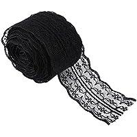 Lumanuby Cinta de encaje estilo vintage. 1 rollo de 10 m de largo y 4,5 cm de ancho, negro, 100x4.5CM