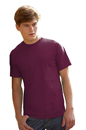 Maglietta Maniche Corte Uomo Fruit Of The Loom Valueweight T-Shirt Manica Corta, Colore: Bordeaux, Taglia: XL