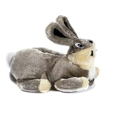 Funslippers®, Chaussons Animaux Fantaisie, 33, 34, 35 Testé pour les substances nocives**, avec semelle caoutchouc solide lapin gris