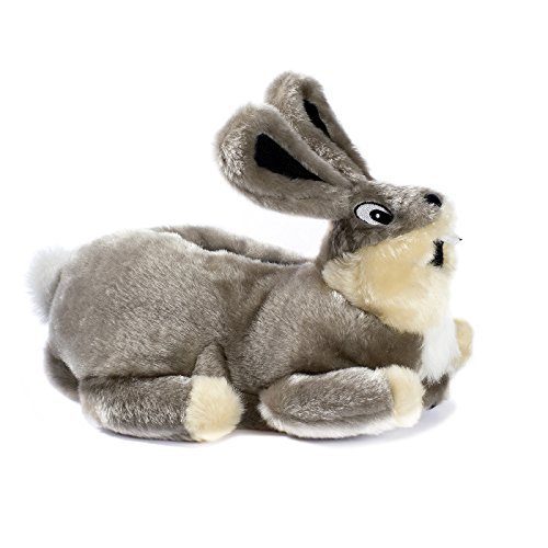 funslippers®, lustige Hausschuhe Tiere Erwachsene Tierhausschuhe Größe 39, 40, 41 Schadstoffgeprüft** Hasen Plüsch Bunny Kaninchen grau mit Gummisohle (Für Erwachsene Kostüme Bigfoot)