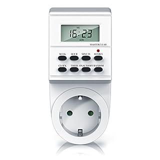 Bearware - digitale Zeitschaltuhr mit LCD-Display | 3680W | 8 Programme | Zufallsschaltung + Timer | Kinderschutzsicherung | inkl. Back-Up Reserve Funktion