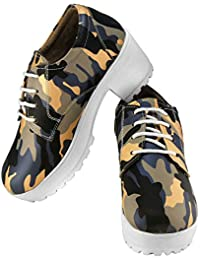 Zapatoz Presents Women's/Ladies/Female/Girls Trendy Fashionable Lightweight Comfortable Partywear, Casual Camouflage Shoes for Women Stylish Sneakers Heel-Lace Up Shoes_(S-9-Blue)