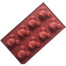 Molde de silicona para tartas, 8 cavidades, 3D, diseño de Mickey Mouse,