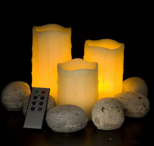Frostfire 6003 - Juego de 3 velas artificiales con aroma a vainilla y mando a distancia , 10, 12 y 15cm