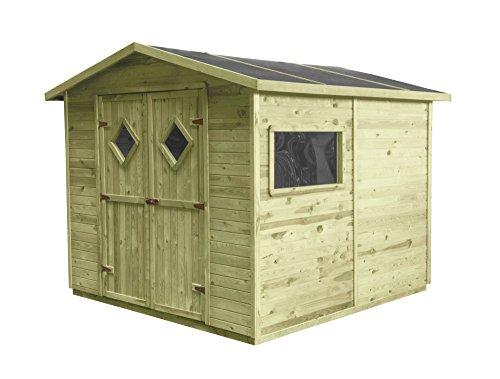 Gartenhaus MAXI mit Boden | Holz | 5m² | 264x262 | Geräteschuppen Gerätehaus Partyhaus Schuppen  | Kiefer | Massiv | Natur | Druckimpregniert | Wooder