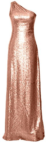 MACloth Women One Shoulder Long Bridesmaid Dress 2017 Sequin Formal Evening Gown (EU48, Rose Gold)