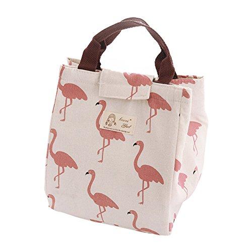 Little finger - borsa/borsetta termica con fascia di chiusura per shopping, pranzo, picnic, con motivo grazioso orso/fenicottero
