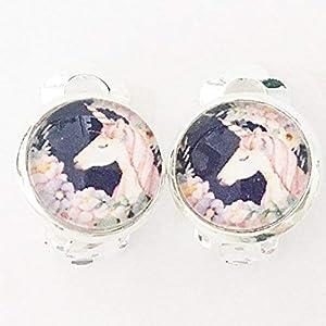 Einhorn Kinder Ohrclips 10mm Motiv Cabochon Ohrringe handgefertigt by Schmuckphantasien in silber auch als Ohrstecker unicorn handmade clips for kids