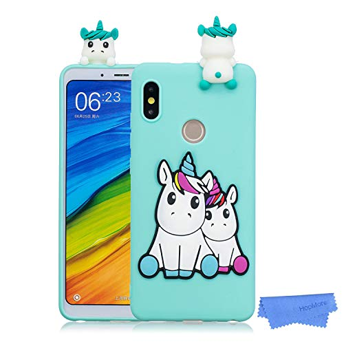 HopMore Funda para Xiaomi Redmi Note 6 Pro Silicona Dibujo 3D Divertidas Panda Animal Carcasa TPU Ultrafina Case Slim Case Antigolpes Caso Protección Flexible Cover Design Gracioso - Unicornio Verde