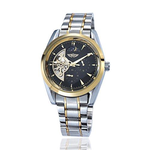 YAKI Elegante classico meccanico orologio automatico da Uomo Bianco 1113-G
