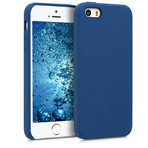 kwmobile Cover compatibile con Apple iPhone SE / 5 / 5S - Custodia in silicone TPU - Back Case protezione cellulare blu marino