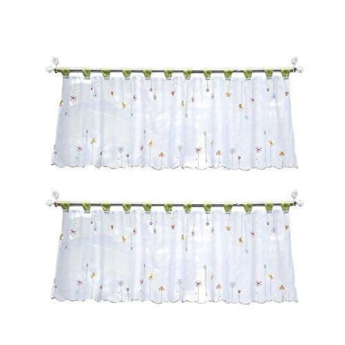 Lifemaison tende voile cucina corta con motivo floreale,tendina scorrevole trasparente,adatta a bistrot, cucina,bagno e salotto,bianco e verde